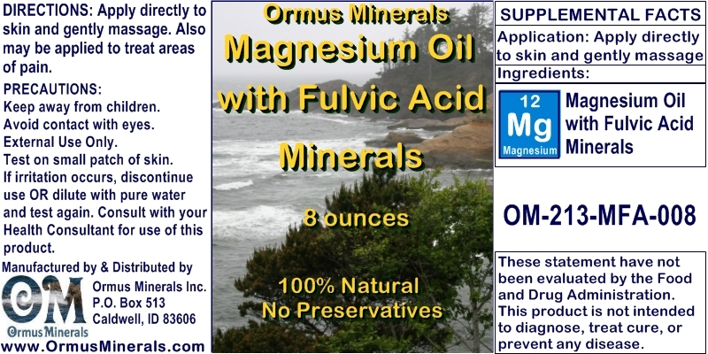 Ormus Minerals Magnesium Oil with Fulvic Acid Minerals