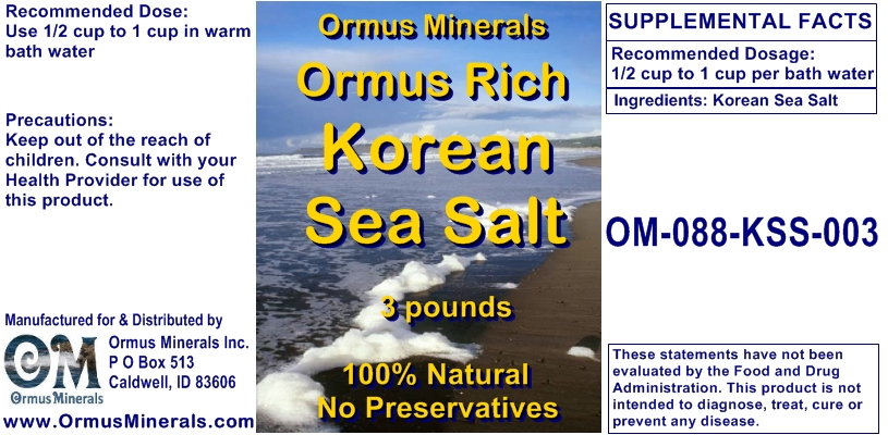 Ormus Minerals Ormus Rich Korean Sea Salts